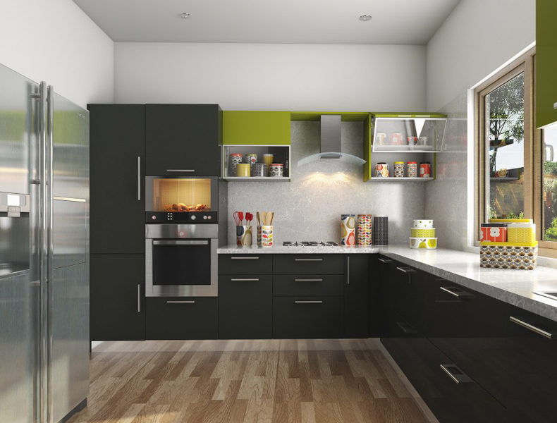 L Shape Modular Kitchen - kt010