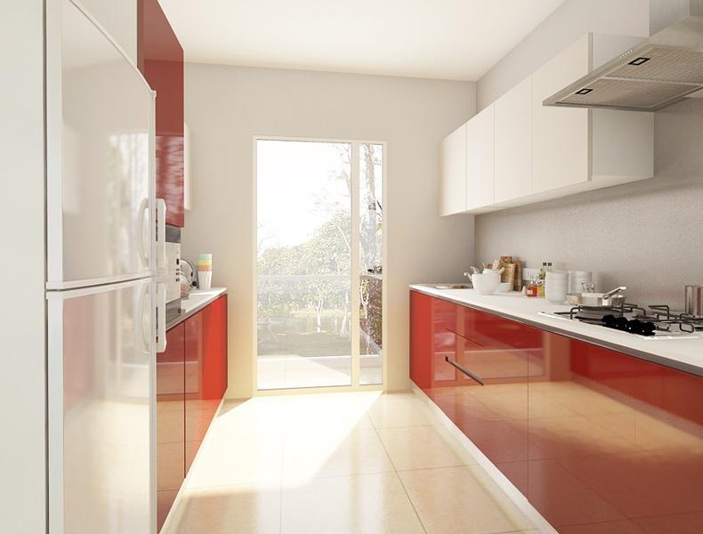 L Shape Modular Kitchen - kt009