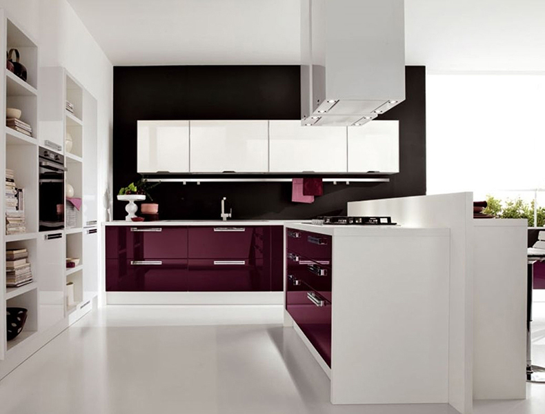 Acraylic Modular Kitchen with white stone