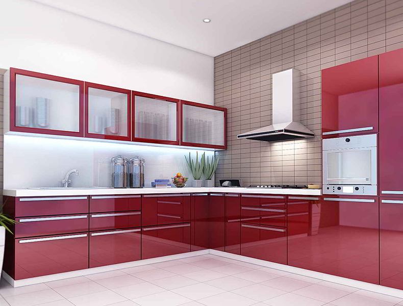 L Shape Modular Kitchen Red