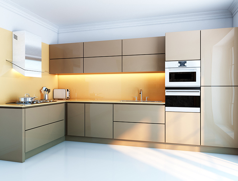 L shape Modular Kitchen Beige