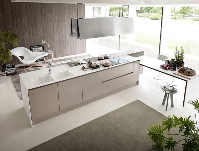 L shaped Modular Kitchen White