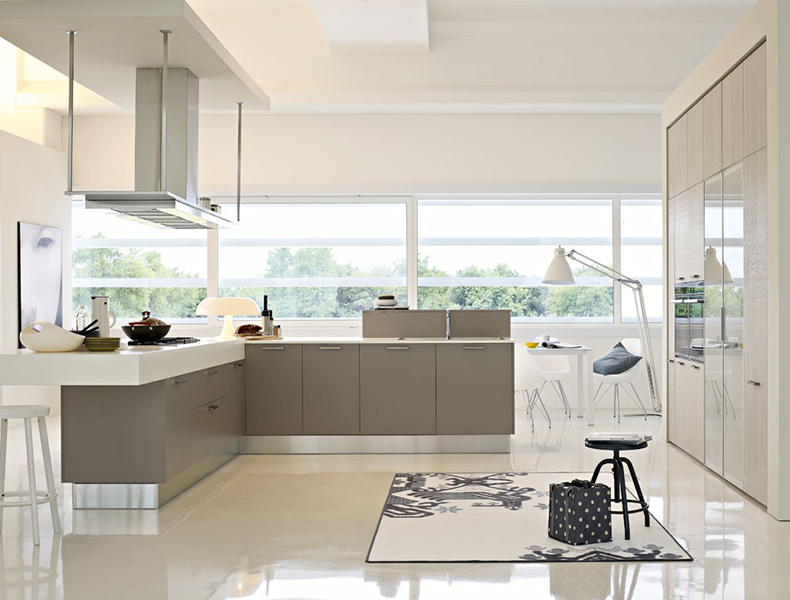L shape Modular Kitchen with heavy top