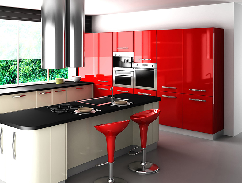 Red Island Modular Kitchen