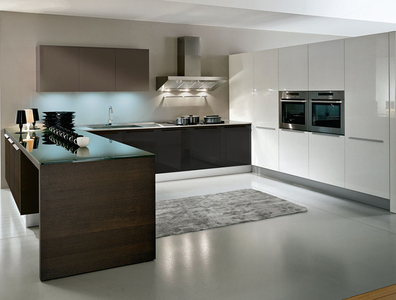 U shape Modular kitchen W_B
