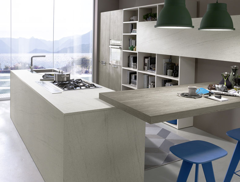 U shape Modular Kitchen with breakfast table