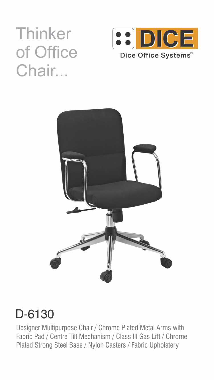 Black Office Chair Chrome Steel Base-6130
