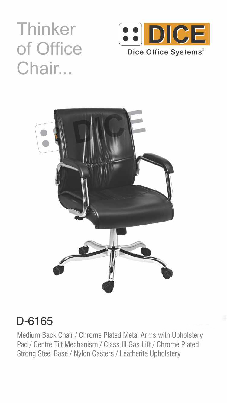 Black Office Chair Chrome Steel Base-6165