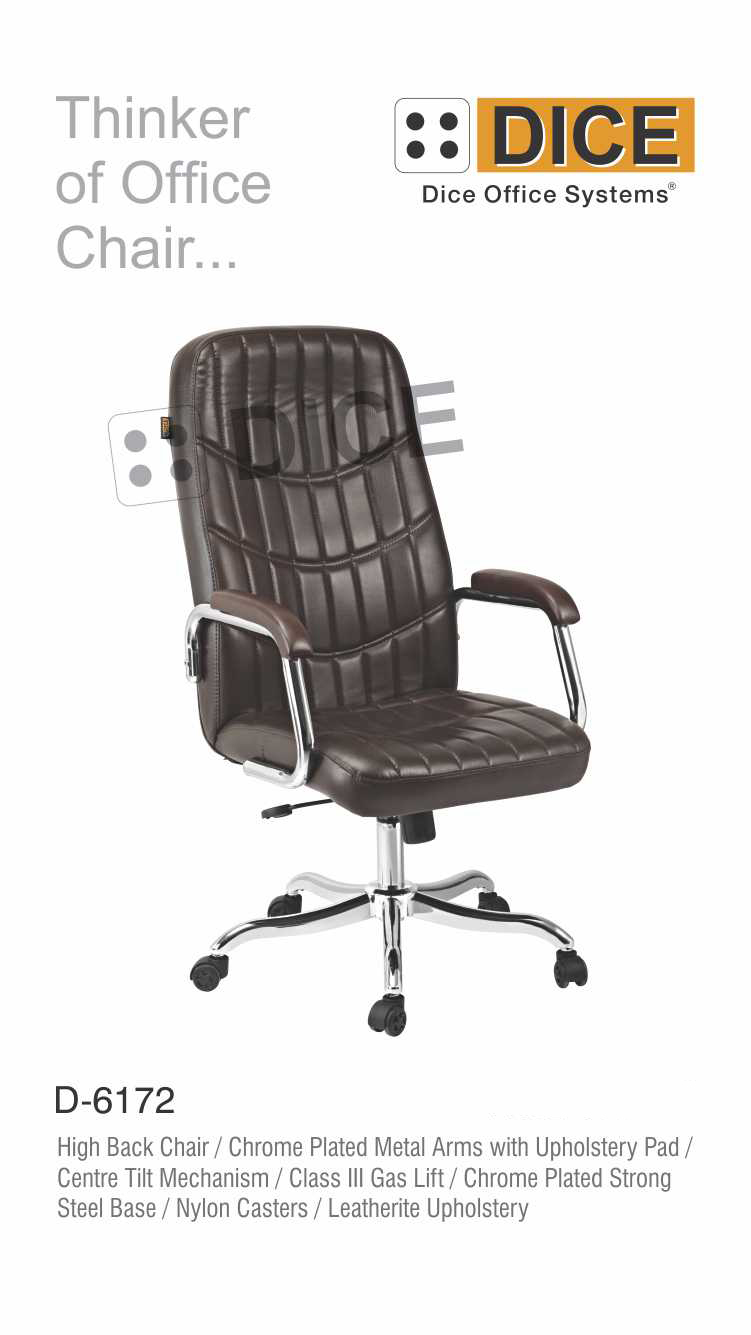 Black Office Chair Chrome Steel Base-6172