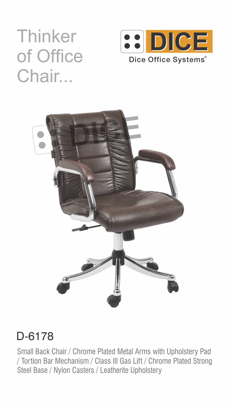 Black Office Chair Chrome Steel Base Dice -6178