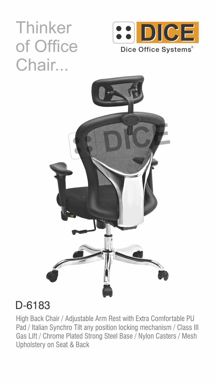 Black Office Chair Chrome Steel Base Dice-6183