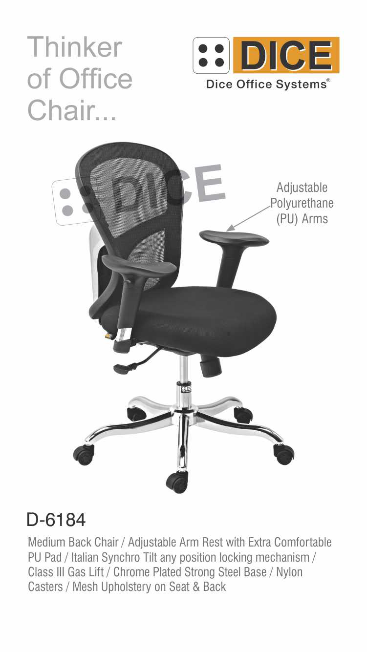 Black Office Chair Chrome Steel Base Dice -6184