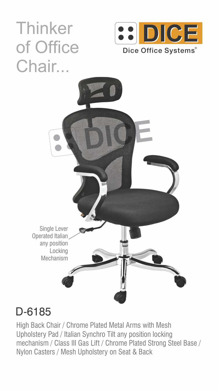 Black Office Chair Chrome Steel Base Dice -6185