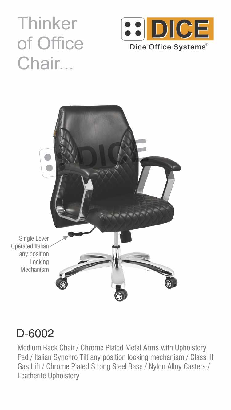 Black Office Chair Leather Dice-6002