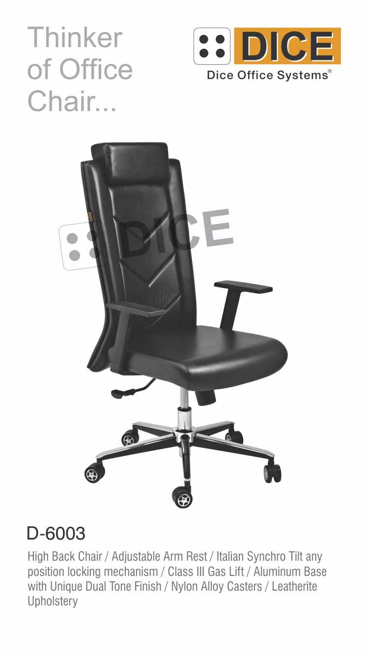 Black Office Chair Leather Dice-6003