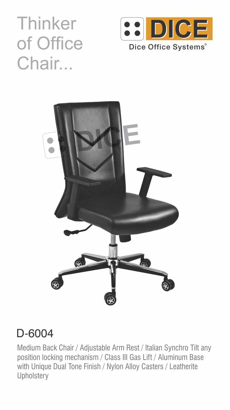 Black Office Chair Leather Dice-6004