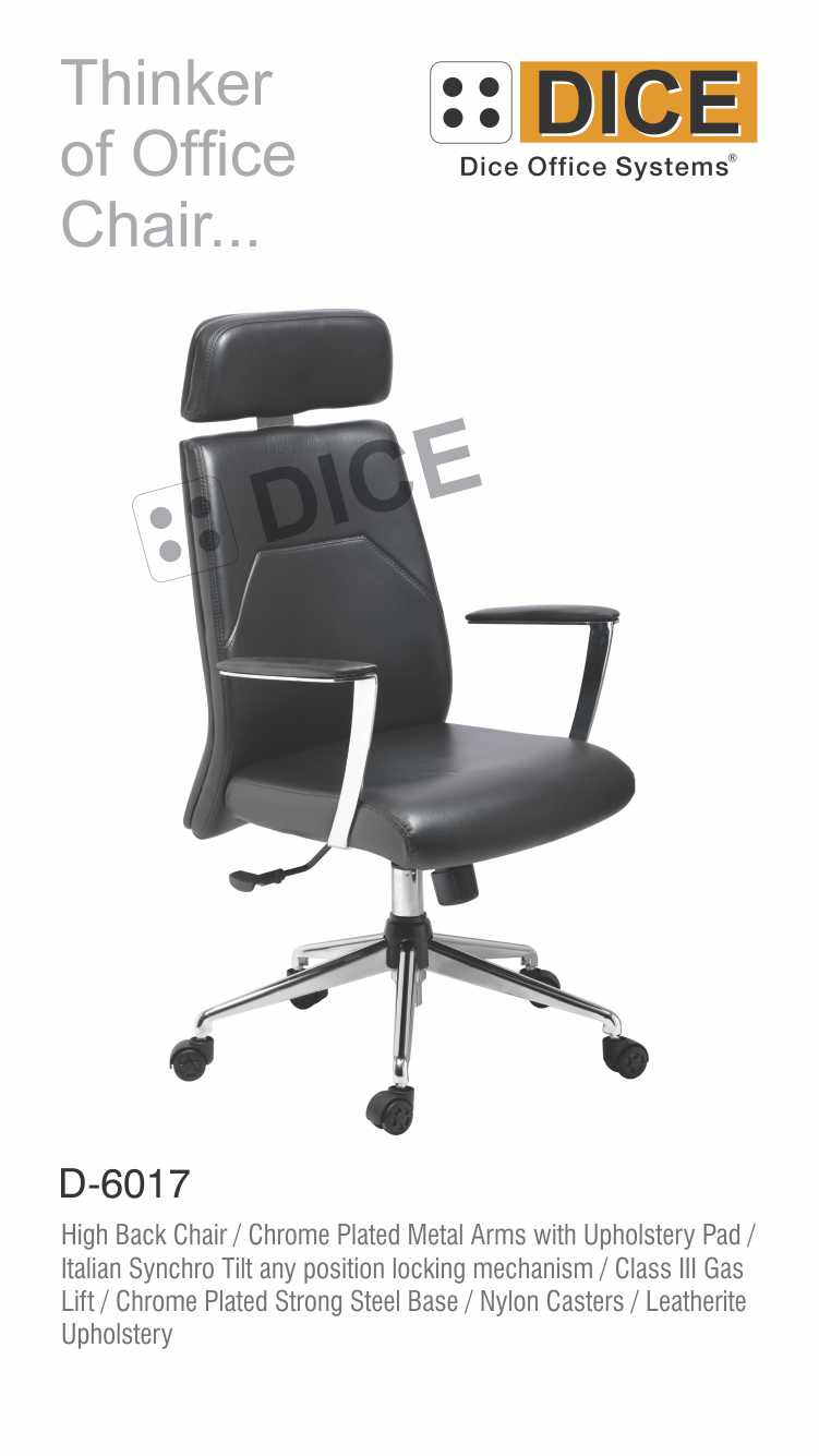 Black Office Chair Leather Dice-6017