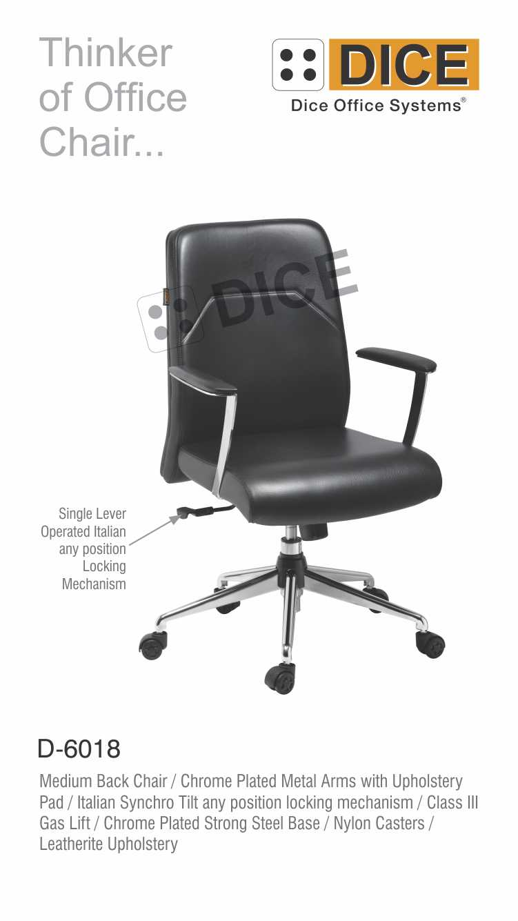 Black Office Chair Leather Dice-6018