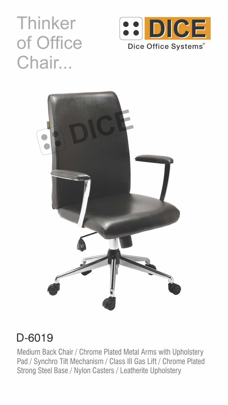 Black Office Chair Leather Dice-6019