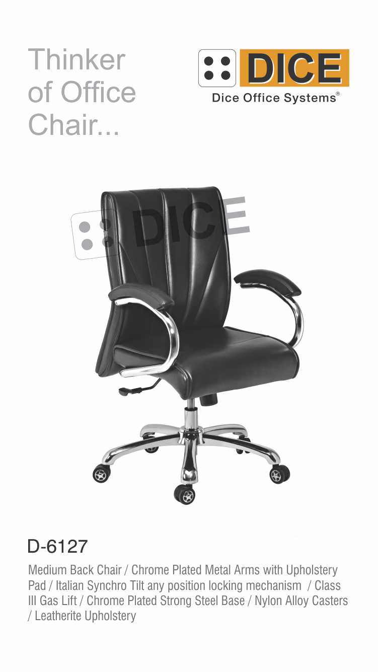 Black Office Chair Nylon Caster Dice-6127