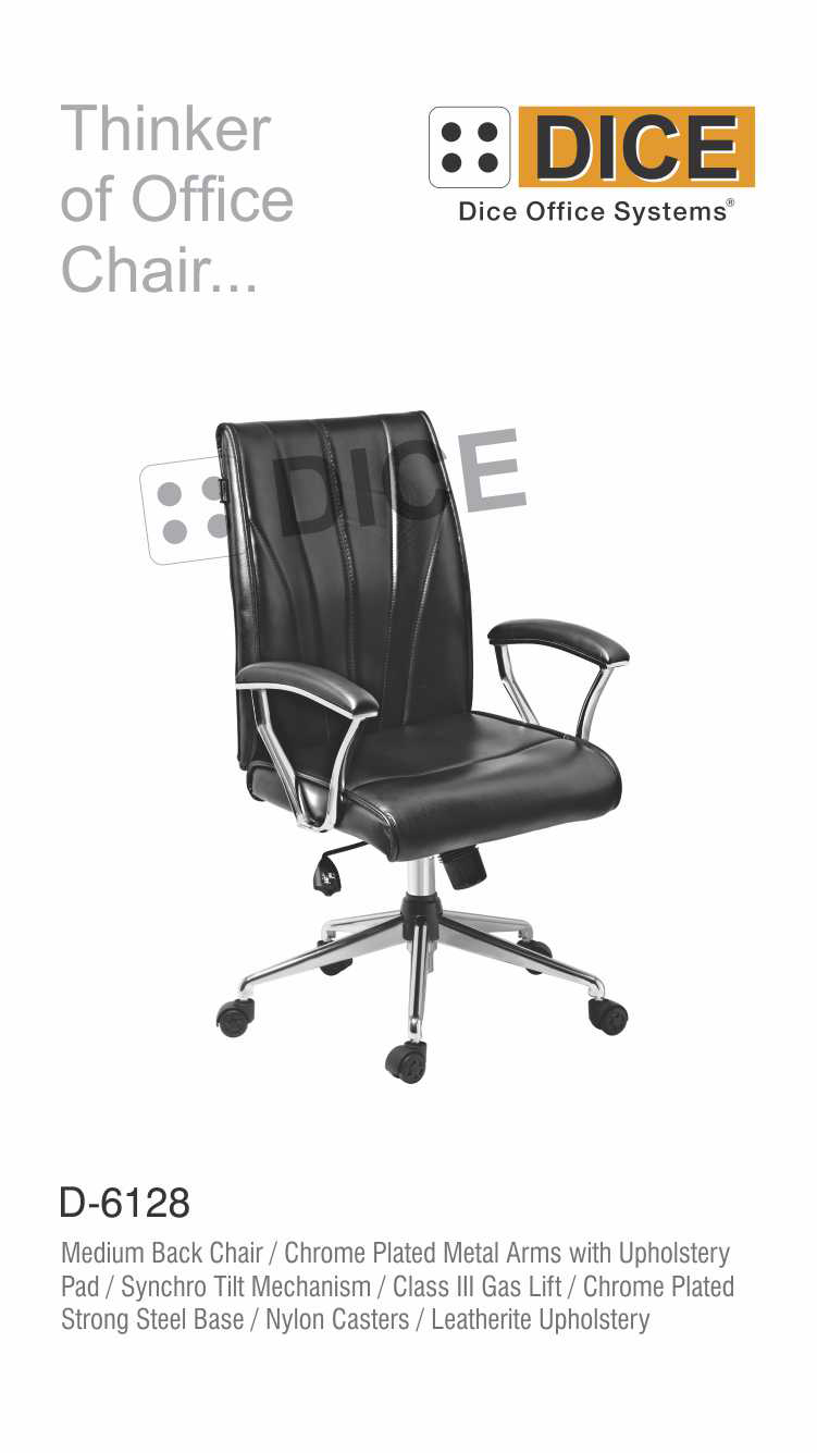 Black Office Chair Nylon Caster Dice-6128