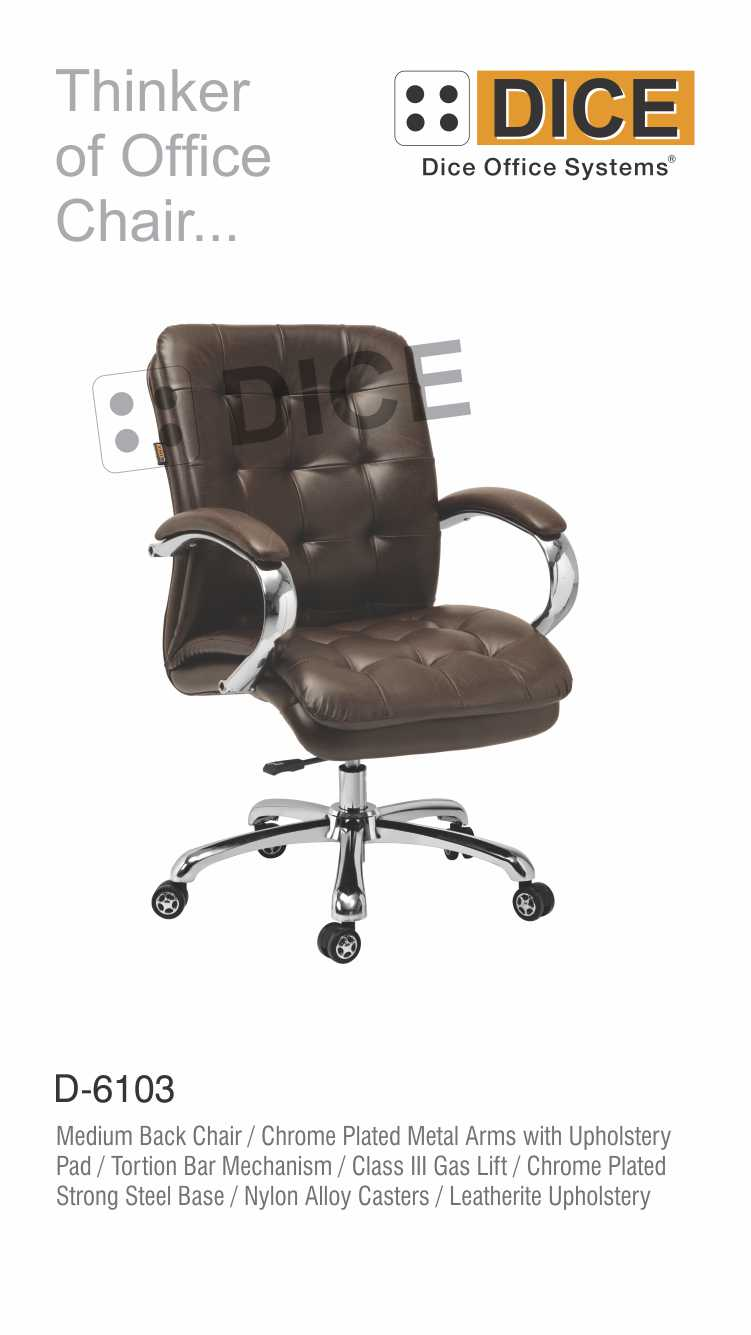 Dark Brown Office Chair Leather With Steel Base-6103