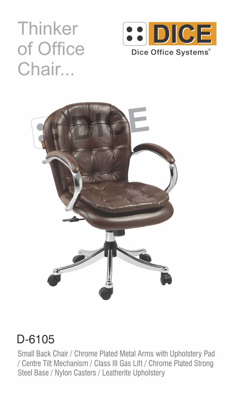 Dark Brown Office Chair Leather With Steel Base-6105