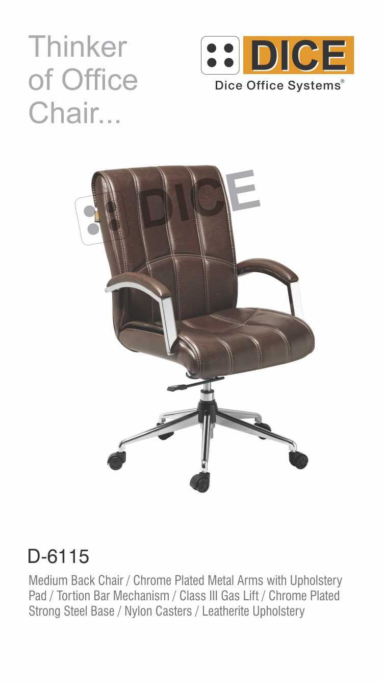 Dark Brown Office Chair Leather With Steel Base Dice -6115