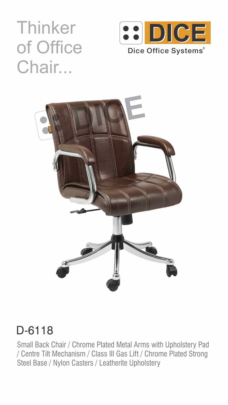 Dark Brown Office Chair Leather With Steel Base Dice -6118