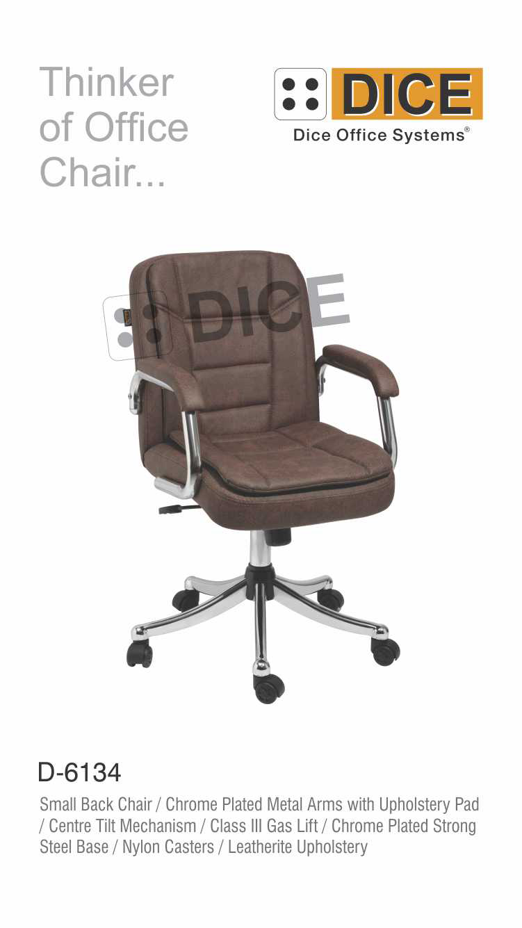 Dark Brown Office Chair Leather With Steel Base Dice -6134