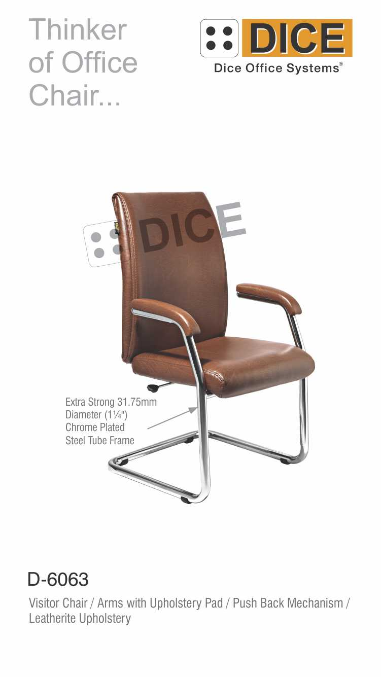 Dark Brown Office Visitor Chair Leather- 6063