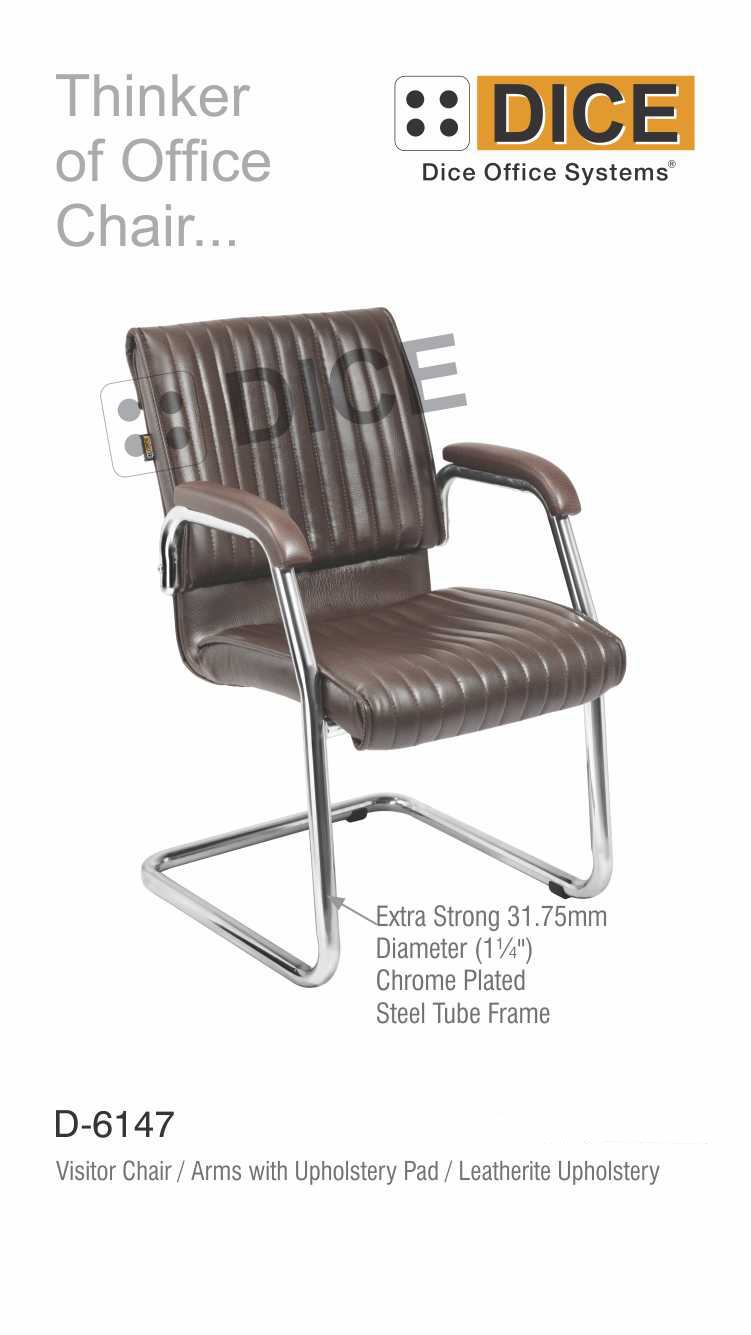 Dark Brown Office Visitor Chair Leatherite-6147