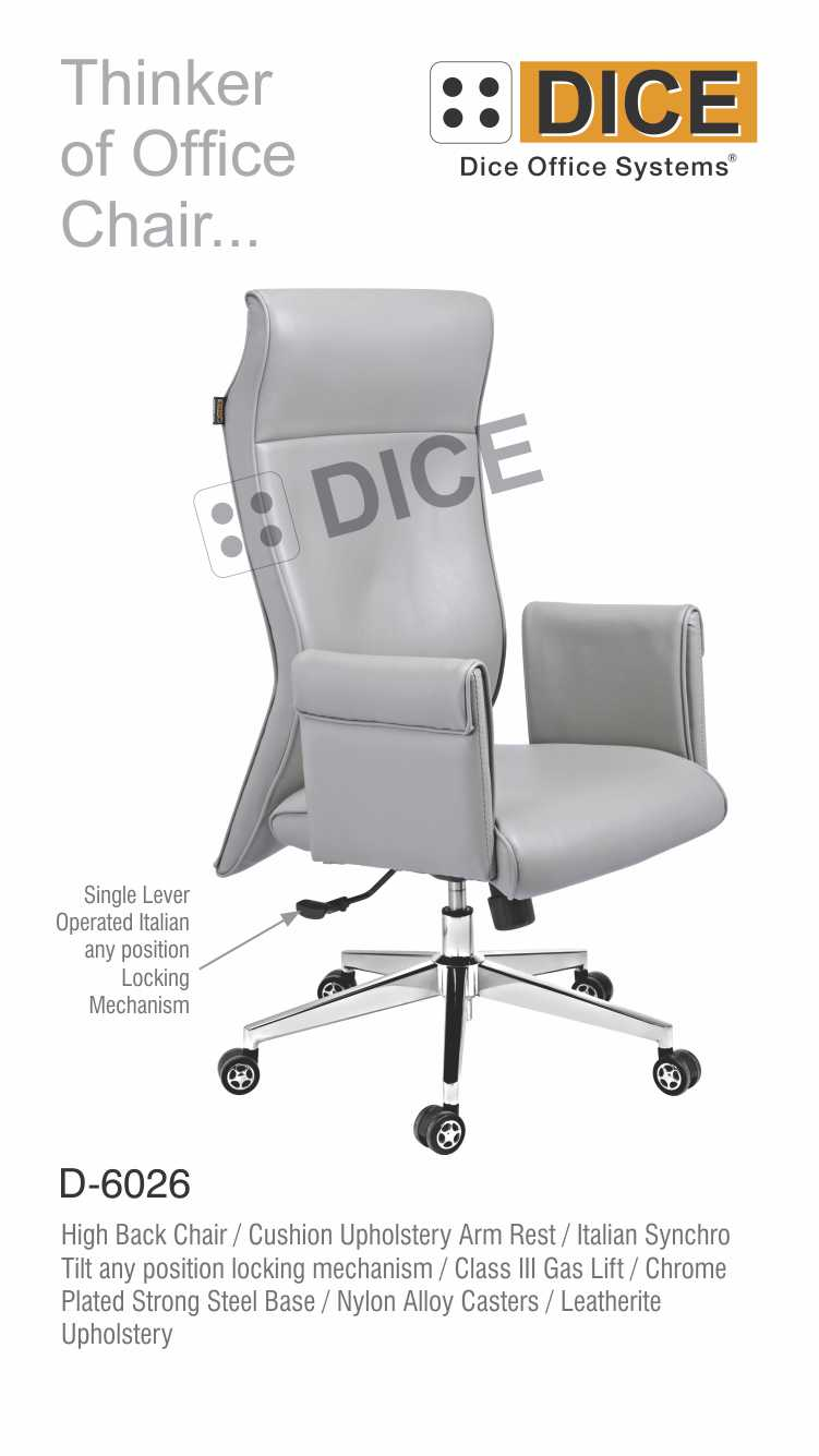 Grey Office Chair Class-3 Gas Lift Dice-6026