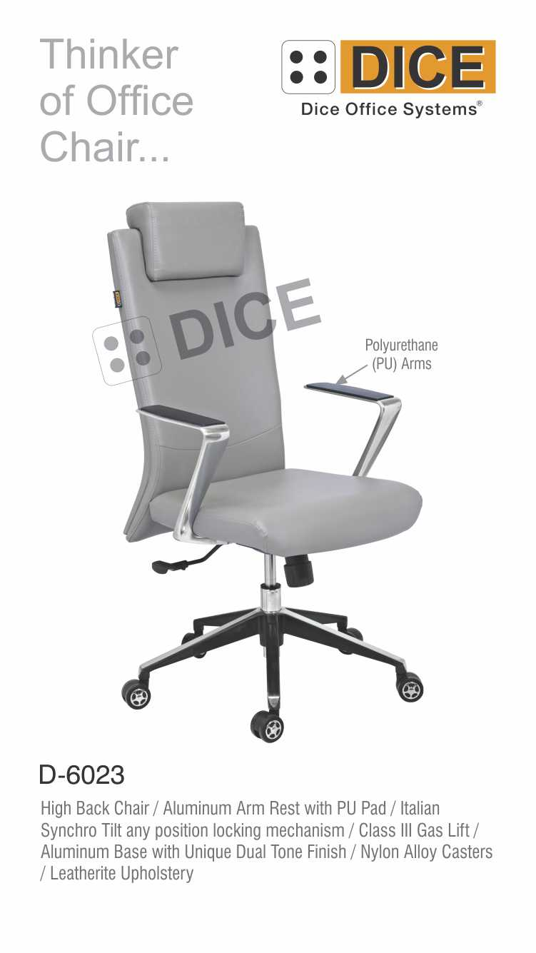 Grey Office Chair Fabric Upholster Aluminium Arm Rest-6023