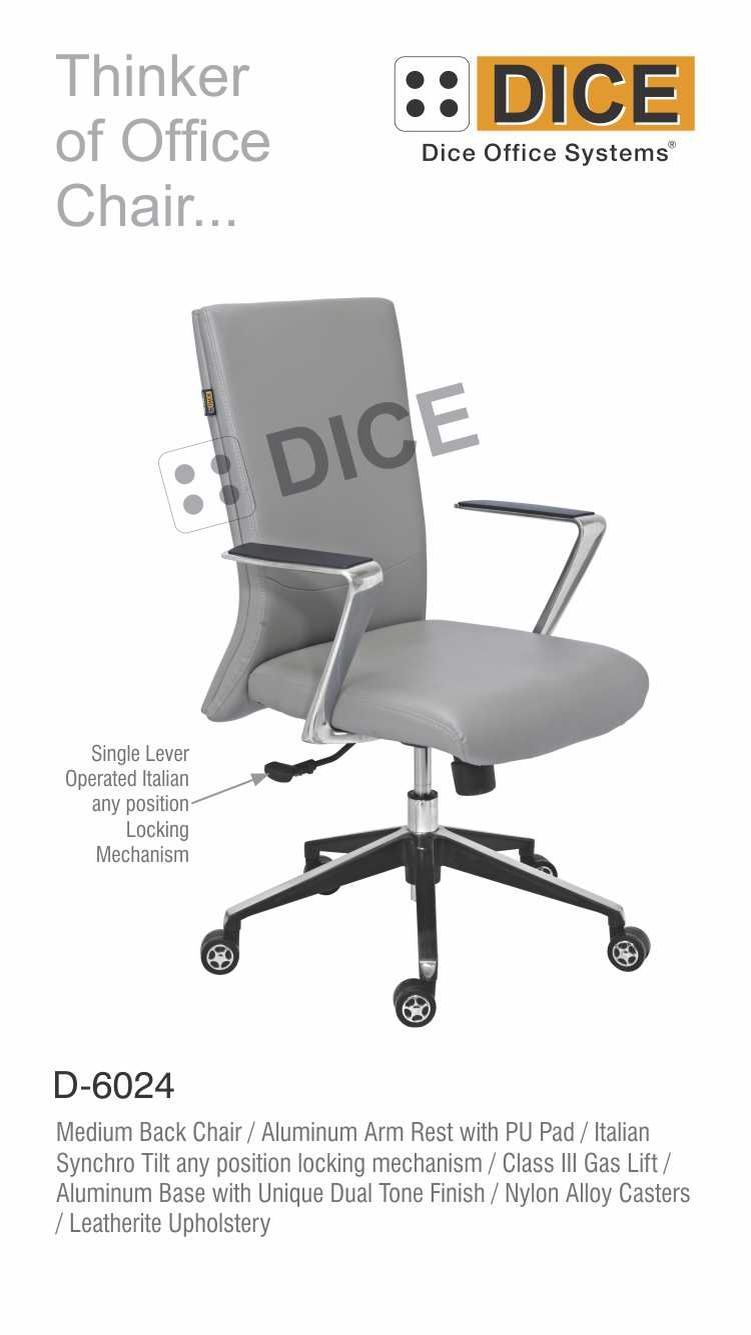 Grey Office Chair Fabric Upholster Aluminium Arm Rest-6024