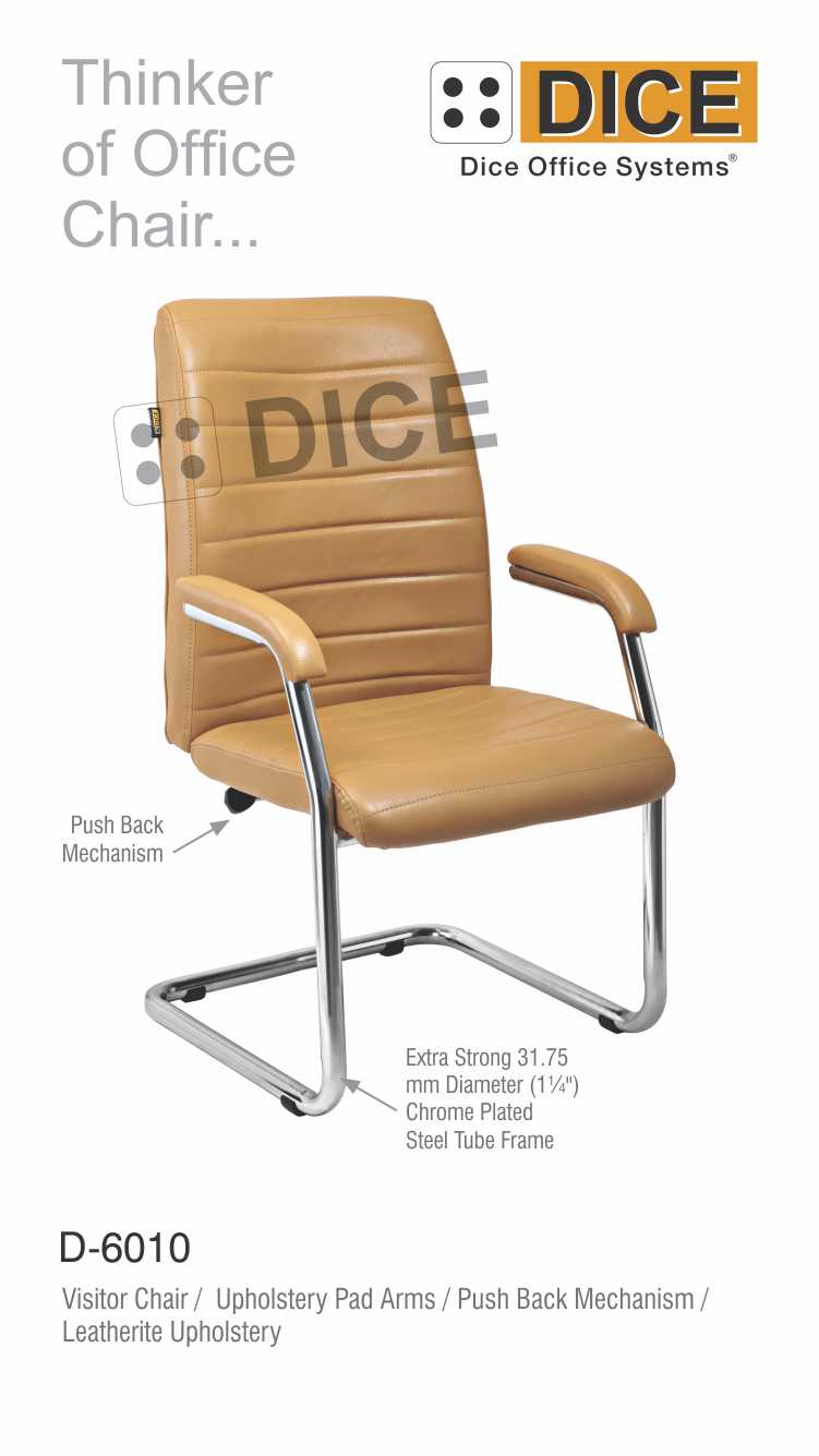 Light Brown Office Visitor Chair Leather-6010