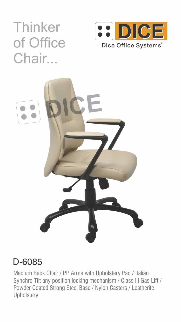 Off White Office Powdered Coated Strong Steel Chair-6085