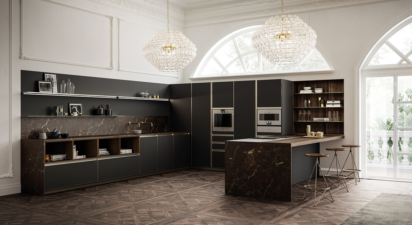 U shaped modular kitchen design